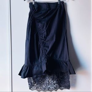 Calvin Luo ruched ruffled lace black midi skirt